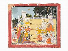 Shiva and the Gods Spray Water During the Holi Festival, 19th C