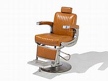 Vintage Takara-Belmont Barber's Chair, Leather & Chrome, c.1955