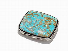 Southwestern Turquoise & Sterling Silver Belt Buckle, 20th C.