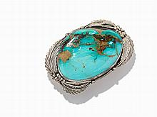 Signed Navajo Turquoise & Silver Belt Buckle, ca. 2010