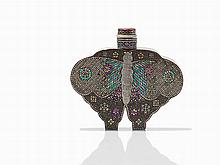 Lacquered Butterfly Form Snuff Bottle, Japan, Meiji Period