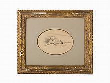 Jean-Léon Gérôme, Work on paper, 'Lioness'