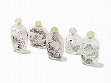 Five Interior Painted Snuff Bottles by Contemporary Artists
