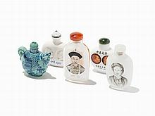 Five Snuff Bottles including an Example by Zhang Zenglou, China