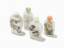 Four Interior Painted Snuff Bottles by Contemporary Artists