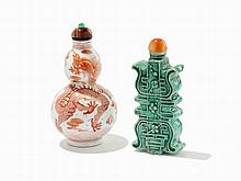Double Gourd-Form Snuff Bottle and a 'Shou'-Form Snuff Bottle