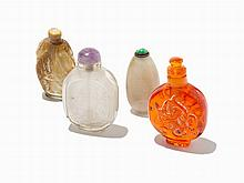 Four Snuff Bottles including a Jade Pebble-Form Example, China