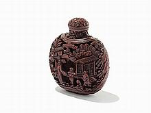 Carved Cinnabar Lacquer Snuff Bottle, China, Late Qing Dynasty