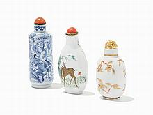 Three Porcelain Snuff Bottles, China, Late Qing Dynasty