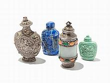 Group of Four Snuff Bottles, China and Mongolia, 19th/20th C.