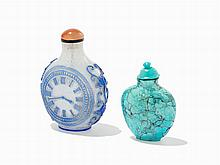 Turquoise Snuff Bottle and a 'Clock Motif' Snuff Bottle, China