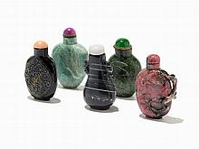 Group of Five Hardstone Snuff Bottles, China, 19th/20th C.