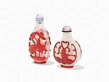 Pair of Red-Overlay on Snowflake Glass Snuff Bottles, China