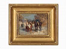 Wilhelm Velten, Horse Market, Oil on Wood