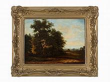 Eugen Gustav Dücker, Forest Landscape with Village, Oil on Wood