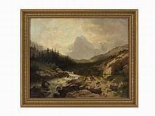 Wilhelm Velten, Mountain Paysage with Travelers, Oil on Canvas