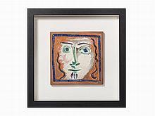Pablo Picasso, Visage aux cheveux bouclés, Ceramic Plaque, 1968