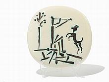 Pablo Picasso, 'Jouer de flute et chèvre', Ceramic Plaque, 1956