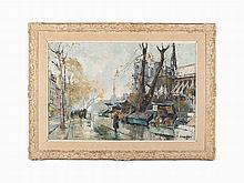 """Constantin Kluge, """"Notre Dame de Paris,"""" Oil on Canvas, 20th C."""