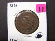1838 BRAIDED HAIR LARGE ONE CENT (LOTS OF DETAILS / THE ONLY 1838 IN THE AUCTION !!!!!!!!!!!)