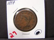 1854 BRAIDED HAIR LARGE ONE CENT (GREAT DETAILS / THE ONLY 1854 IN THE AUCTION !!!!!)