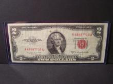 1953-B $2 DOLLAR UNITED STATES NOTE (RED INK)