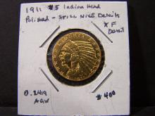 1911 Circ. $5 Gold Indian.  Very Bright Coin.