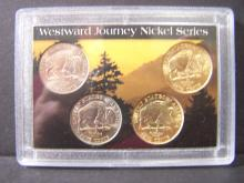 Four-Coin Westward Journey Nickel Set.  Includes 2 Gold-Enhanced Coins!