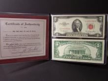 Pair of Red Seal Currency.  $2 & $5 U.S. Notes in portfolio.