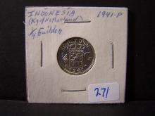 1941 Indonesia 1/4 Guilden.  High Grade Silver Coin!