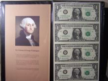 Uncut Sheet of (4) 2003A Series $1 Federal Reserve Notes.