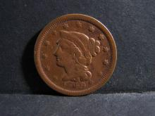 1849 BRAIDED HAIR LARGE ONE CENT (GREAT DETAILS !!!!!!!!!!!!!!!!!)