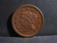 1855 BRAIDED HAIR LARGE ONE CENT WITH UPRIGHT 5'S (GREAT DETAILS !!!!!!!!!!!!!!!!!!!!)