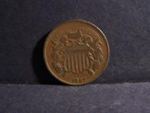 1867 TWO CENT PIECE (VG+ DETAILS !!!!!!!!!!!!!!!!!!)