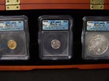 ICG Certified MS70 Bullion Set.  Includes 1/10oz Gold Eagle, 1/10oz Platinum Eagle, & 1oz .999 Silver Eagle.