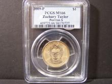 2009-P PCGS MS66 ZACHARY TAYLOR POSITION A GOLD COLORED $1 DOLLAR