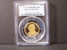 2008-S PCGS PR69DCAM ANDREW JACKSON GOLD COLORED $1 DOLLAR