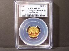 2013 PCGS MS70 Chinese 1/10oz Gold Panda. PCGS Graded MS70.  A Perfect Coin!!
