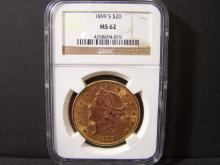 1899-S NGC MS62 $20 Gold Liberty.  Scarce Date & Mint.