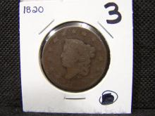 1820 BRAIDED HAIR LARGE ONE CENT (EARLY DATE / RARE CENT / HARD TO FIND / ONLY ONE 1820 IN THE AUCTION !!!)