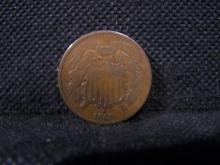 1866 2 CENT PIECE (RARE / GOOD LOOKING 2 CENT COIN)