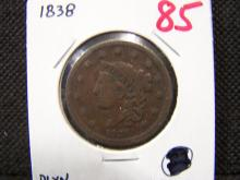 1838 BRAIDED HAIR LARGE ONE CENT (GREAT DETAILS / THE ONLY 1838 IN AUCTION)