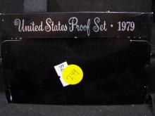 1979 U.S. Mint Proof Set.  Coins are sealed in plastic case with outer box.