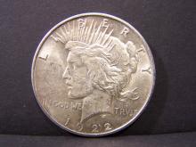 1922 PEACE DOLLAR (AU+ DETAILS !!!!!!!!!!!!!!)