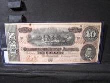 1864 CU-60 $10 DOLLAR CONFEDERATE STATES BILL (VERY RARE / CU-60 / HARD TO FIND IN THIS GRADE)