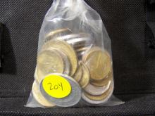 Grab-Bag of foreign coins.  Looks to be mostly South American.
