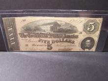 FEB. 17TH 1864 UNCIRCULATED CONFEDERATE STATES OF AMERICA $5 DOLLARS (UNC. / RARE CURRENCY / A MUST HAVE !!!!!!!!!!!!!!!!!)
