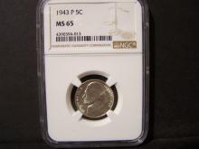 1943-P NGC MS65 NICKEL (MS65 !!!!!!!!!!!!!!!!)