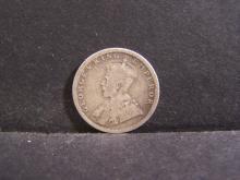 1918 India 1/4 Rupee Silver Coin.