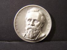 SILVER!!! 3D COMMEMORATIVE RUTHERFORD B HAYES SILVER PIECE (JUST SHY OF 1 OUNCE SILVER !!!!!!!!!!!!!!!!)